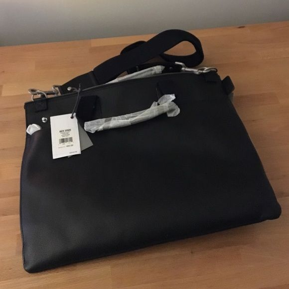 Jack Spade Portfolio Attaché New as can be. Black boarskin. Canvas strap. Brushed nickel hardware. Document Brief. Jack Spade Bags
