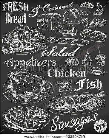 plate+drawn+in+chalk | Hand-drawn restaurant menu on chalkboard - stock vector