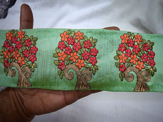 Green and Gold High Quality Decorative Border Trim by the yard