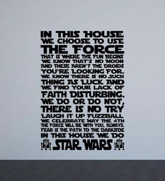 Dans Cette Maison Nous Faisons Star Wars Affiche Murale Sticker Geek Film Signe Star Wars Devis Salle De Jeux Autocollant Cadeau Ado Chambre Decor Sticker Viny