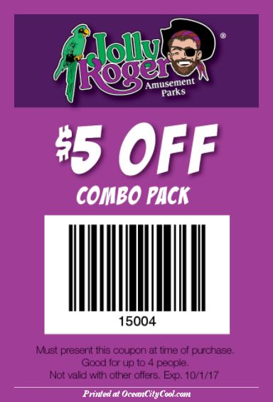 #CoolCoupons - Jolly Roger Amusement Parks $5 OFF Combo Pack... #oceancitycool