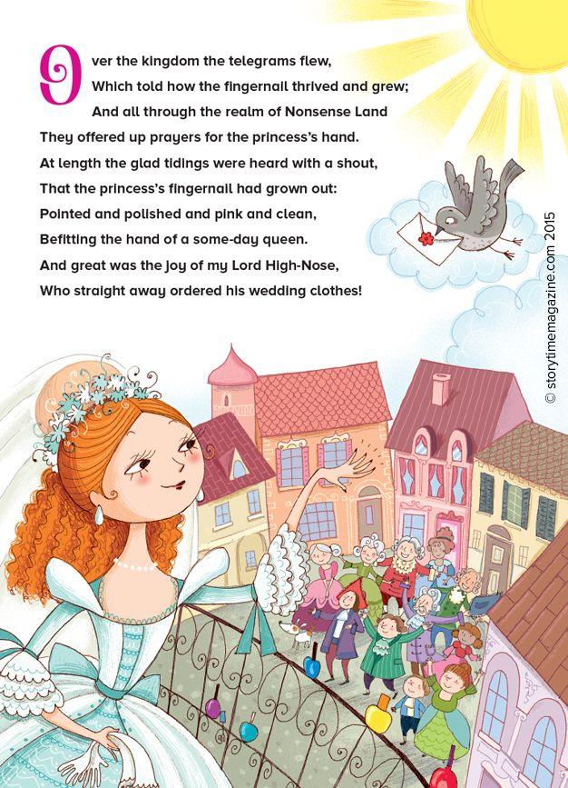 The Princess's Fingernail – our Storytime Issue 9 poem, illustrated by Barbara Bongini http://www.childrensillustrators.com/illustrator-details/BBongini/id=2343/ ~ STORYTIMEMAGAZINE.COM