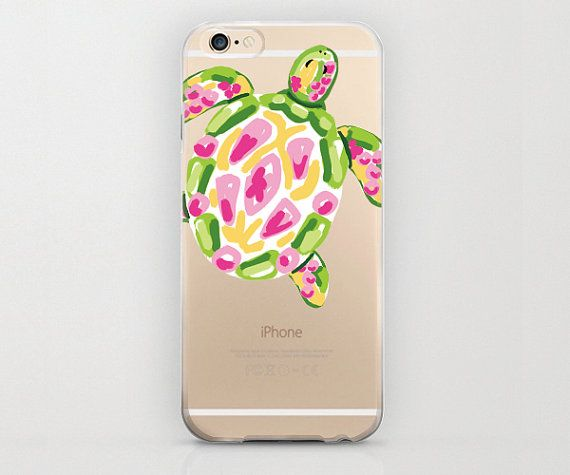 Turtle iPhone 6 Case, Colorful Tortoise, Plastic Phone Case, Tortoise iPhone 6 Cover, Apple iPhone 6 Covers, Colorful Green and Pink Design