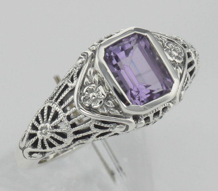 Antique Silver-Tone Filigree Ring w Semi-precious Amethyst - Adjustable 2FjRB2w
