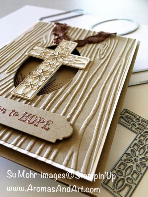 By Su Mohr; Featuring: Hold on to Hope, Cross of Hope, Copper Ribbon, Adhesive Strips, Amazing You