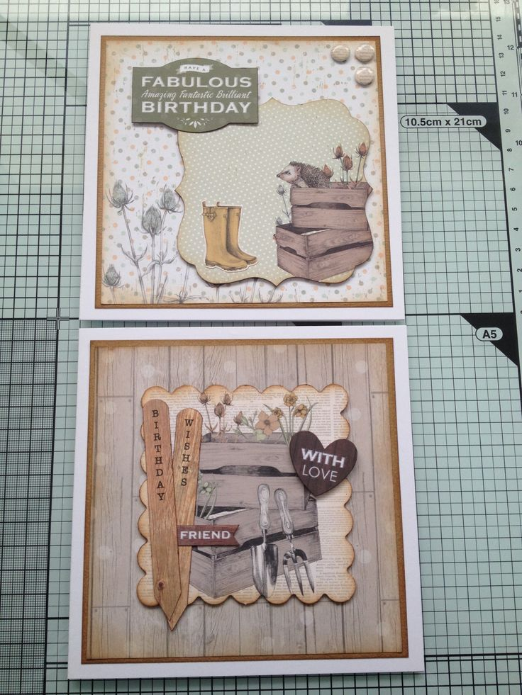 Another 2 cards with cwc 'potting shed' papers