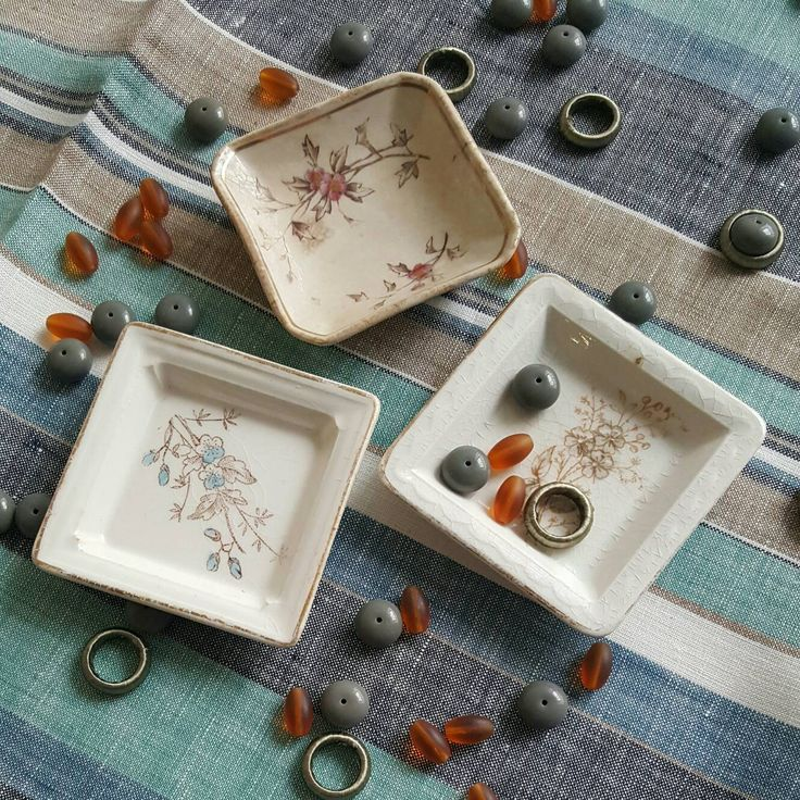 Antique stoneware BUTTER PATS Instant Collection No. 13 | Set of Three | ring catchers | trinket dishes | Victorian Transferware Stoneware by CarliBeardsleyStudio on Etsy