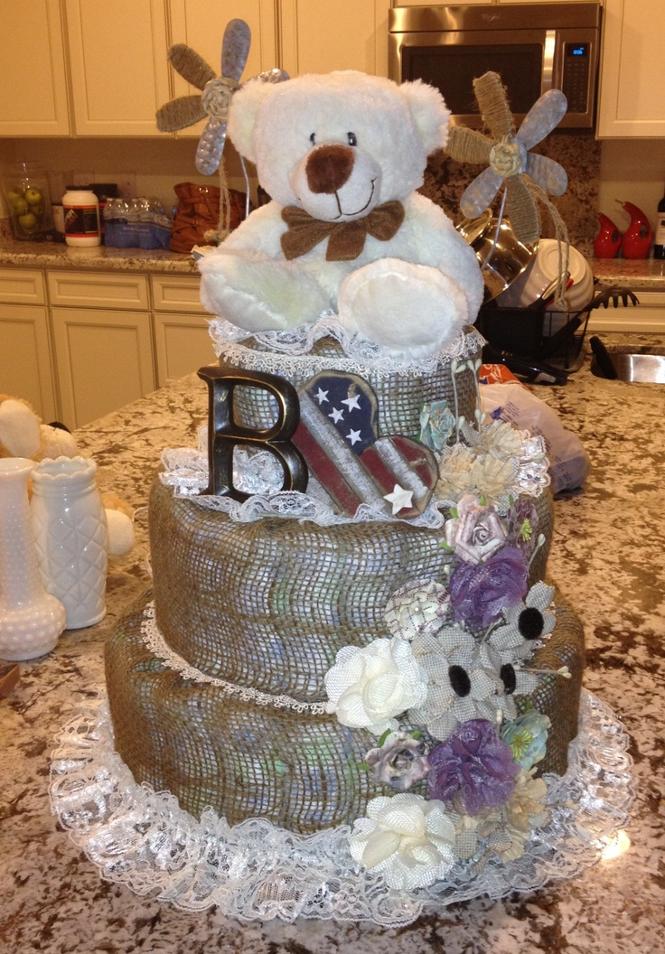 shabby chic bridal shower cakes%0A Rustic shabby chic diaper cake I made for ms Bixby Faye  Baby shower  baby
