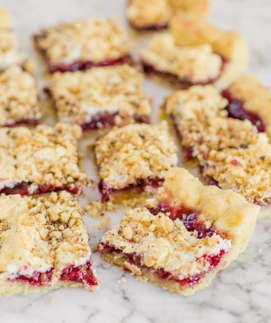 Raspberry Hungarian Pastry : so easy to make, and always a hit! They're rich and sweet, but with a bit of savory lightness in their flaky crust and fine dusting of walnuts | The Kitchn