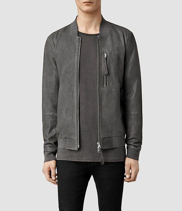 blythe leather bomber jacket - slate grey by allsaints