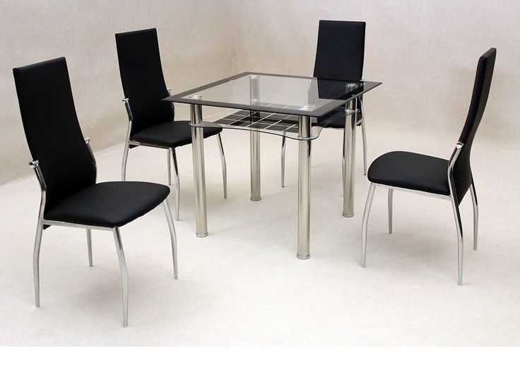 70+ Black Glass Dining Table and 4 Chairs - Rustic Modern Furniture Check more at http://www.ezeebreathe.com/black-glass-dining-table-and-4-chairs/