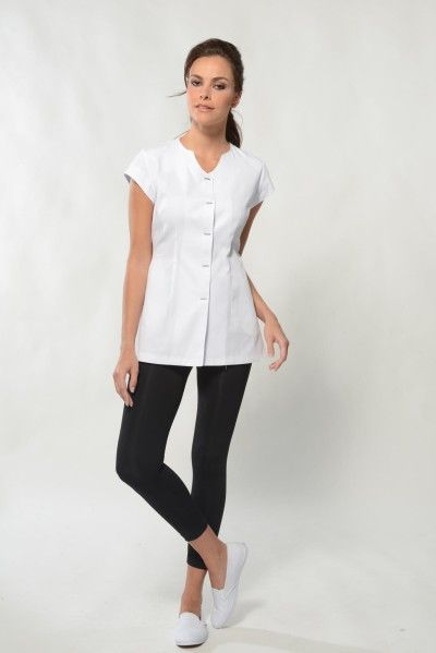 Lina white spa uniform top corporate uniforms for Spa uniform norge