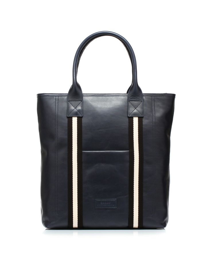 Leather bag type shopping bag with cotton two-tone by #Bally