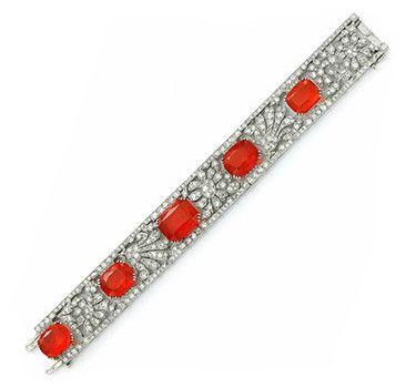 An Art Deco Fire Opal And Diamond Panel Bracelet, Circa 1930