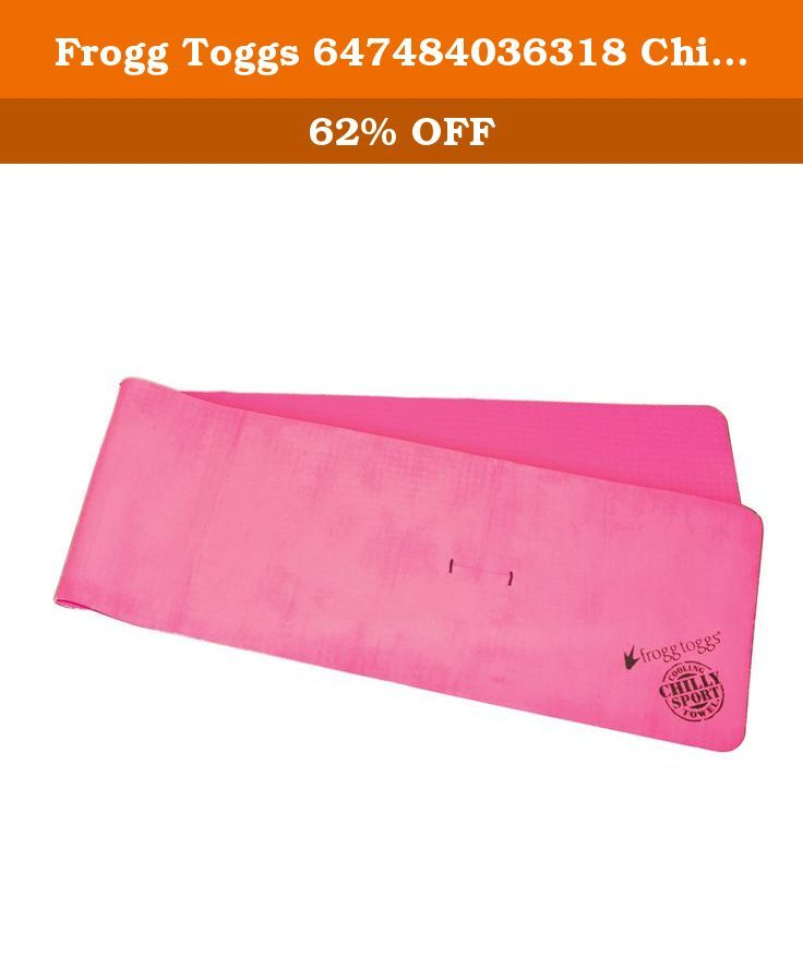 """Frogg Toggs 647484036318 Chilly Sport Cooling Towel, 33"""" Length x 6-1/2"""" Width, Pink. The Frogg Toggs 647484036318 Chilly Sport cooling towel is a pink, machine washable towel, 7.5 X 33 inches, made of polyvinyl alcohol (PVA) sponge that cools as water evaporates from it to help relieve symptoms of heat stress. A small slit in the towel provides a method of attaching to itself for hands-free wearability. It comes with a storage container to keep it moist and ready to use and is machine..."""