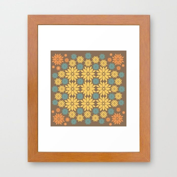 Yellow, Teal, and Orange Flowers on Brown Framed Art Print