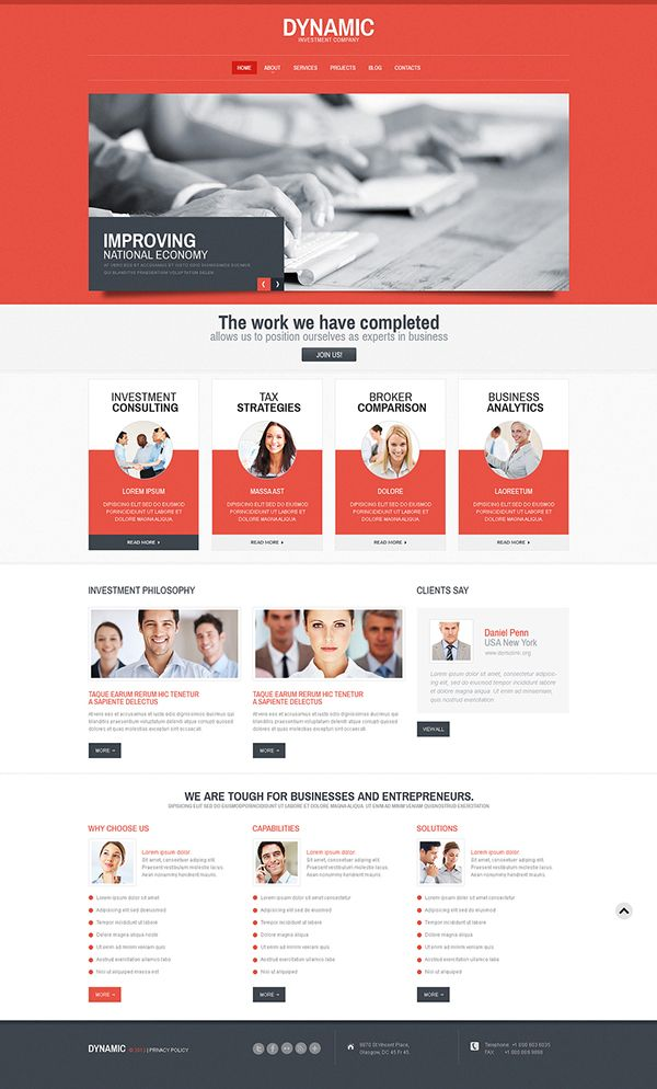 Dynamic Business Responsive WordPress Theme  by Entheos Web, via Behance