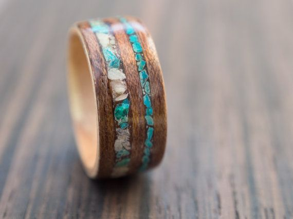 Meranti and beech wood ring with chrysocolla and by MoonLoops