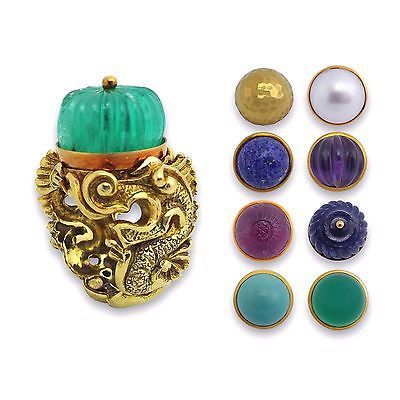 DAVID WEBB 18K Brushed Yellow Gold Colored Gemstones Dragon Motif Ring SZ 6.25
