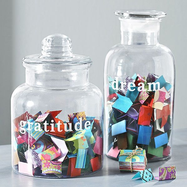 wisteria.com  Gratitude / Dream - graphic is sandblasted onto glass - comes w/colorful recycled paper tags to fill it with