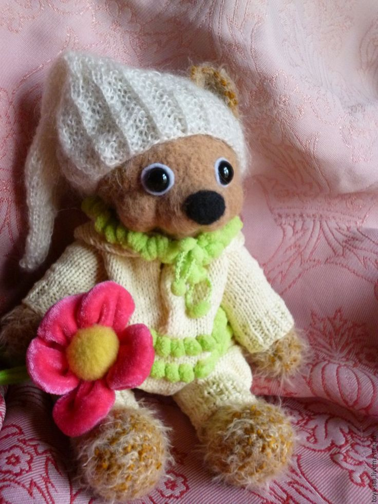 Купить Мишка - комбинированный, вязаная игрушка подарок, мишка игрушка, крючок, пряжа детская