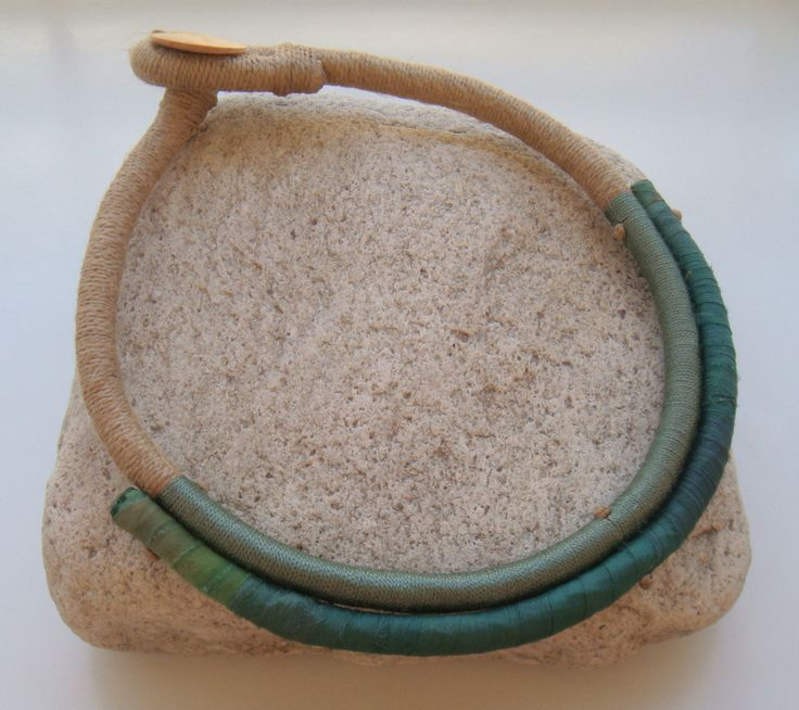 necklace with linen cord, silky yarn and silky textile
