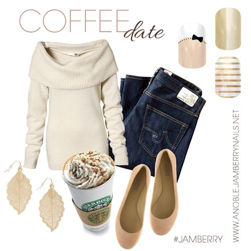 Casual yes sophisticated coffee date outfit with matching Jamberry nails by www.anoble.jamberrynails.net #jamberry