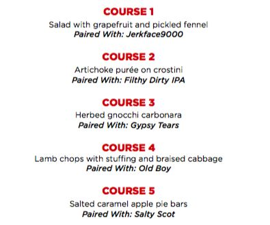 Townhall Abbotsford's 5 Course Parallel 49 Pairing Dinner, November 24 2016