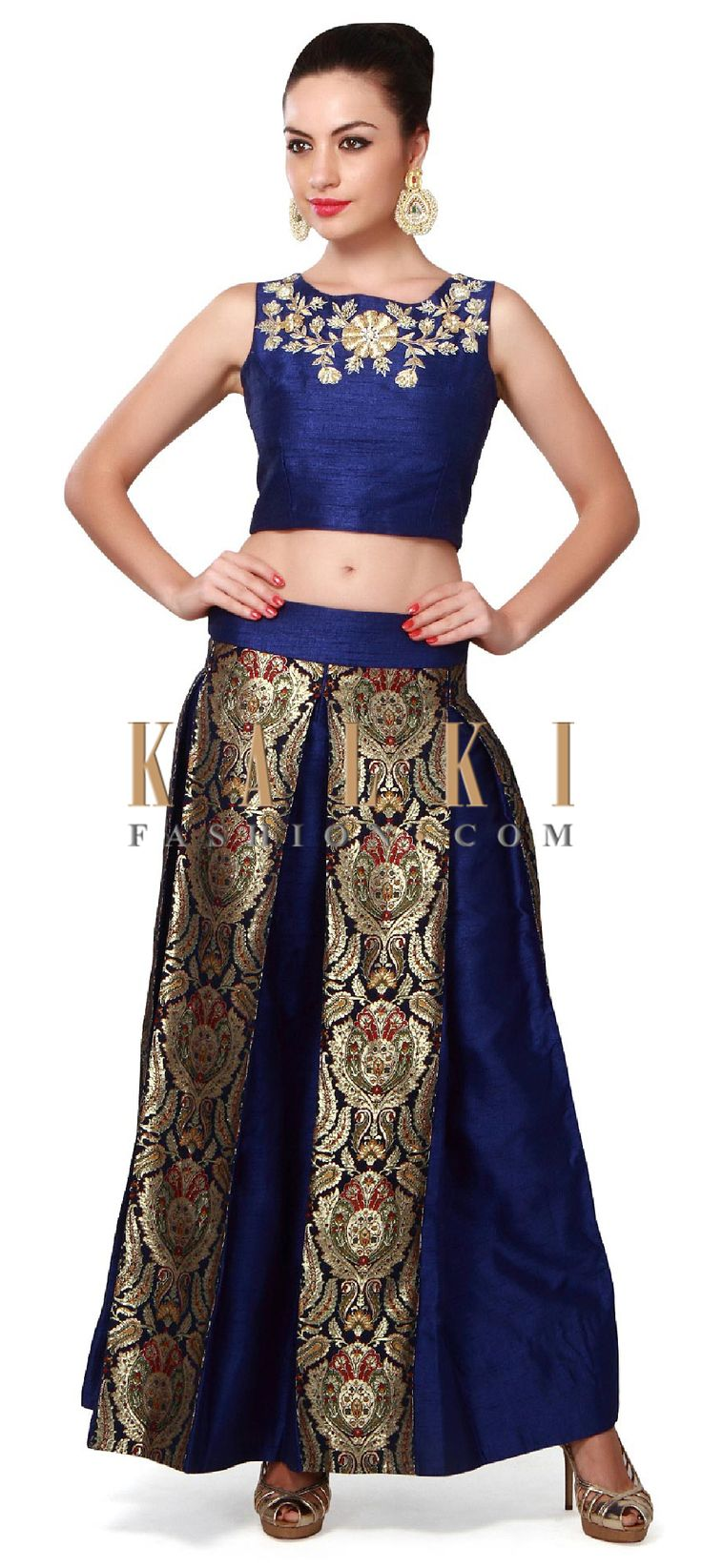 Buy Online from the link below. We ship worldwide (Free Shipping over US$100). Product SKU - 315703. Product Price - $369.00. Product link - http://www.kalkifashion.com/navy-blue-crop-top-and-skirt-featuring-in-zardosi-embroidery-only-on-kalki.html