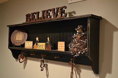 "Black Country Primitive Decor Wall Shelf Cupboard 48"" long"