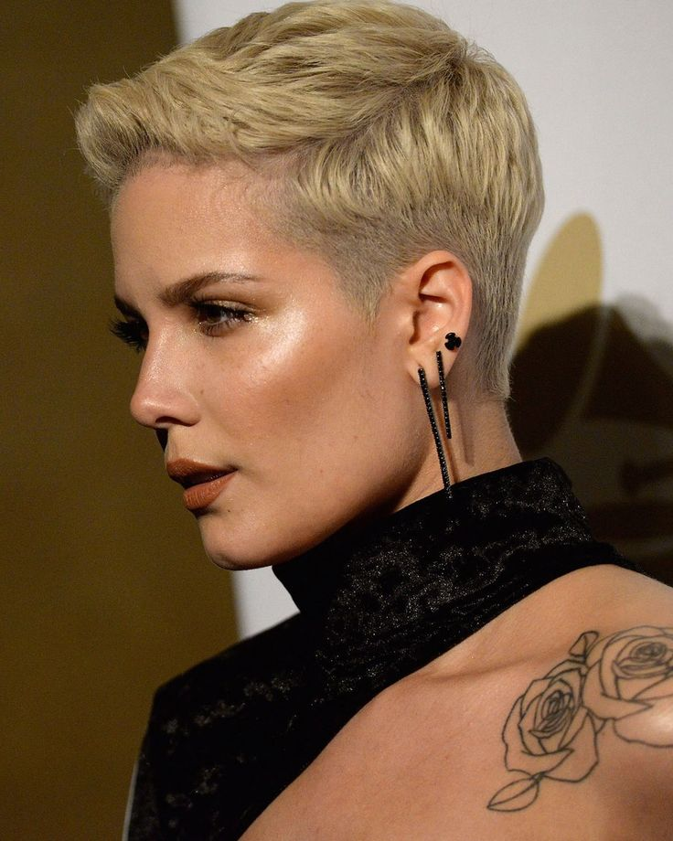 We love the super short sides of Halsey's cut, it gives it a little extra edge.