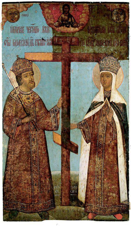 Икона. Обретение креста Константином и Еленой. 1718