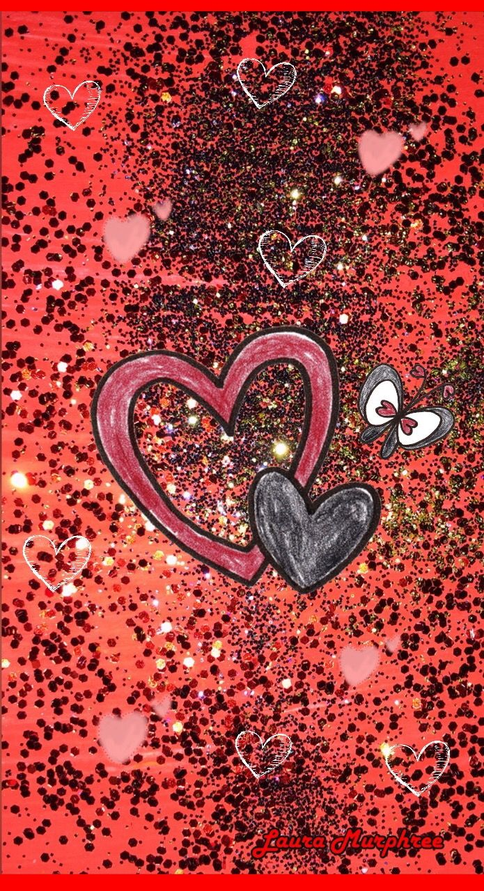 Glitter Phone Wallpaper Glitter Heart Background Valentine S Day