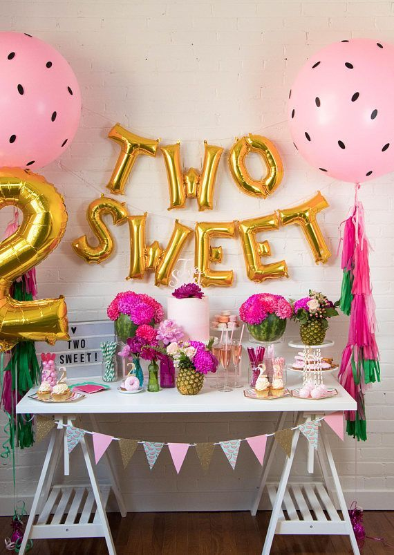 Two cute balloon banners - two-tt fruity theme decor - watermelon theme decor - 2nd birthday decor - two cute - two cool - foil balloon #b ...