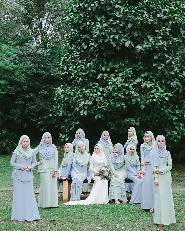 Striking a pose with the bridesmaids the beautiful bride, @nina.poplook is looking absolutely stunning on her wedding day... Going  with the pastel theme of shades of Blue Fog and Apple Mist for her bridesmaids, they're simply a vision to behold. #poplook #poplookwac   Shop Weddings and Celebrations on POPLOOK.com now to steal their picture perfection!