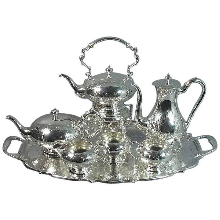 Birks Sterling Silver Tea Service and Tray | From a unique collection of antique and modern sterling silver at https://www.1stdibs.com/furniture/dining-entertaining/sterling-silver/