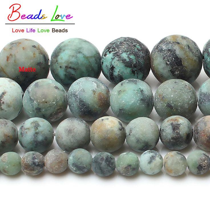 """15 """"Natuurlijke Saaie Polish Matte Afrikaanse Turkooizen Howliet Kralen voor Sieraden Maken 4-10mm Natuursteen ronde Kralen"""