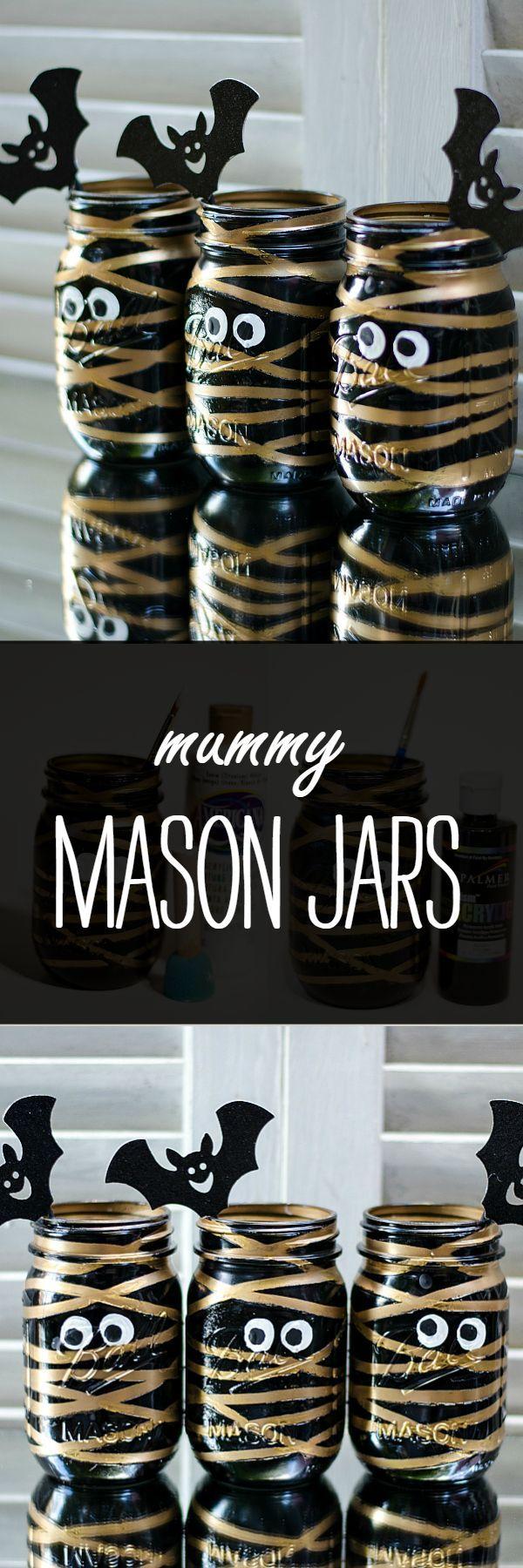 Halloween Craft Idea with Mason Jars: Mummy Mason Jar /iaswp/ (Bottle Decoration Children)