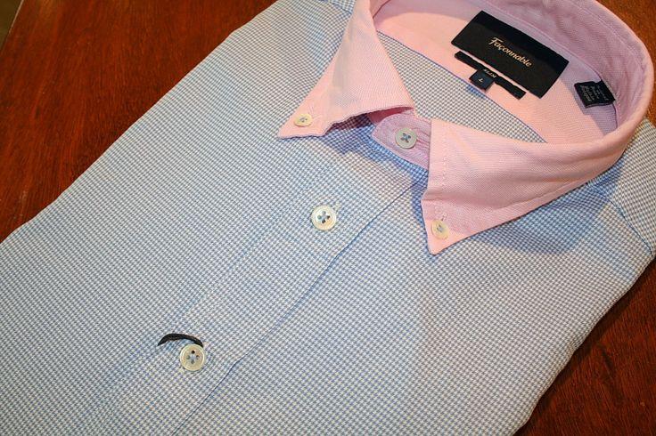Faconnable  Houndstooth Sport Shirt Blue   #Mondo #Uomo #Naples #Fashion