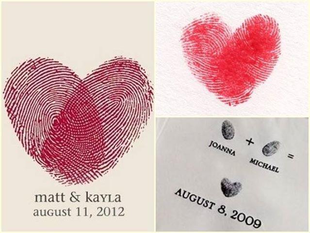 Estas buscando inspiración para tus invitaciones de casamiento? Estás invitaciones son simples y a la vez brillantes!! Las huellas digitales de los novios forman un corazón que durará para toda la vida. No son súper románticas?!?!