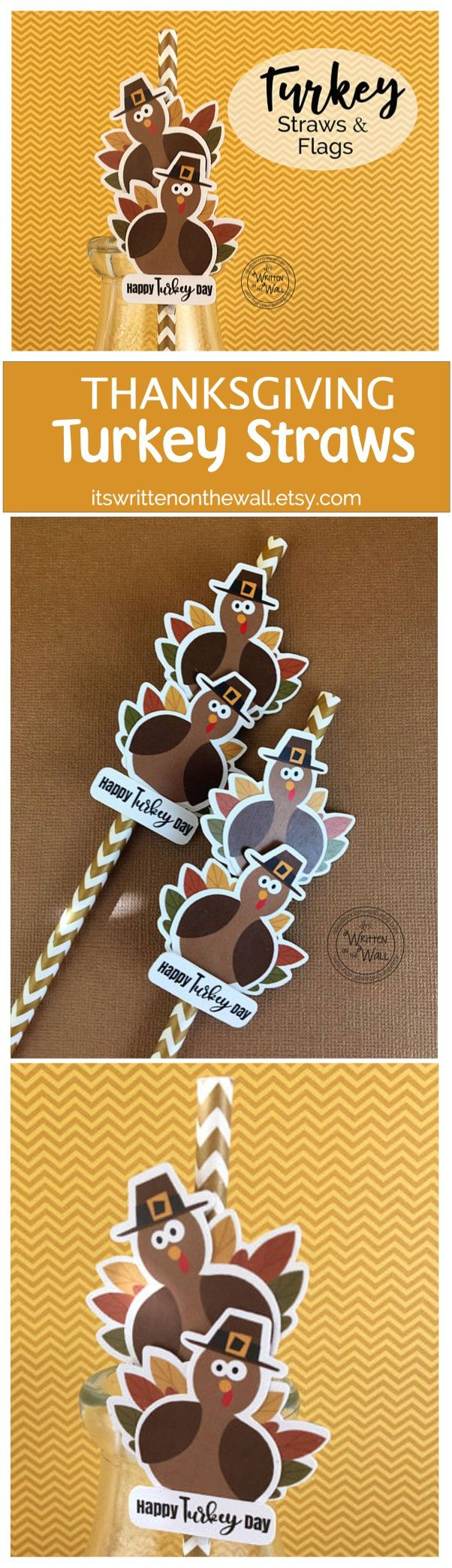 Thanksgiving Turkey Straw Flags for kids and adults table, Turkey Straws, Straws for Thanksgiving, Kids Straws, Happy Turkey Day