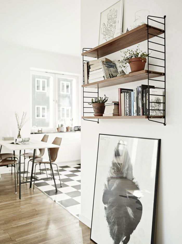 Scandinavian apartment, String pocket shelf