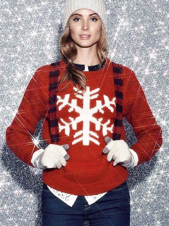 ladies JACK WILLS snow flake RED nordic SOFT WOOL christmas xmas JUMPER  size 12