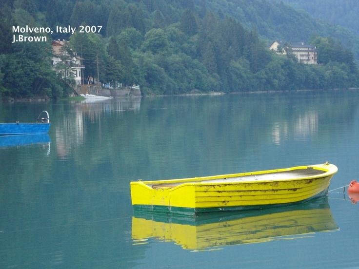 Boat on lake in Molveno, Italy (Trentino)