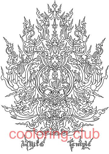white temple with budha coloring page by cooloringclub on etsy - A4 Colouring Pages
