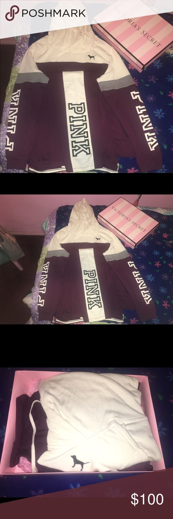 Victoria's Secret/PINK matching hoodie and pants. My items are a matching Black Orchid (burgundy) and off white hoodie and pants by PINK from Victoria Secret. Both the pants and hoodie are a size Large. I purchased the set in Christmas of 2016 and it has not been worn. If you'd like to purchase, please message me on Instagram @infamoussimmone__ PINK Victoria's Secret Other