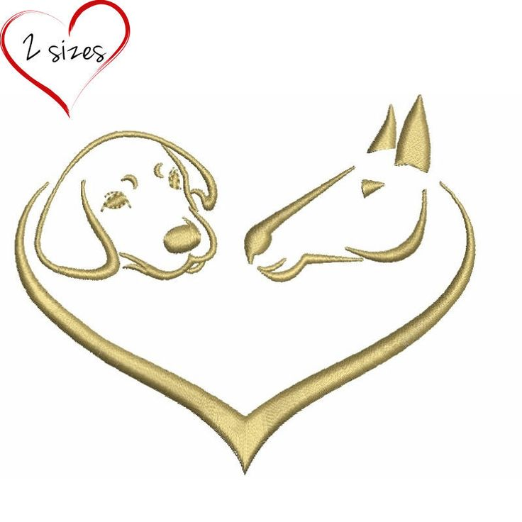 Dog and horse embroidery design machine love designs towel pes files animal digital download instant pattern in the hoop file t-shirt by SvgEmbroideryDesign on Etsy