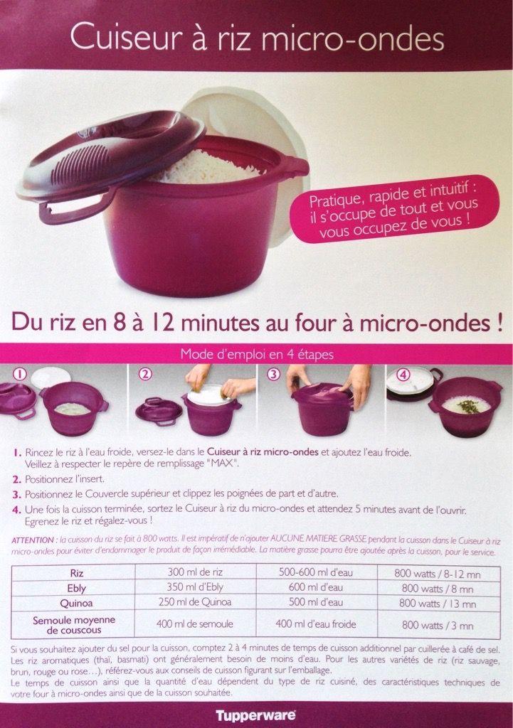 Fiche recette cuiseur riz les macarons la chartreuse tupperware recette pinterest - Plat micro onde tupperware ...