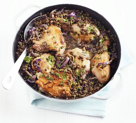 Chicken thighs and drumsticks go a long way when teamed with healthy pulses flavoured with Dijon, cream and parsley