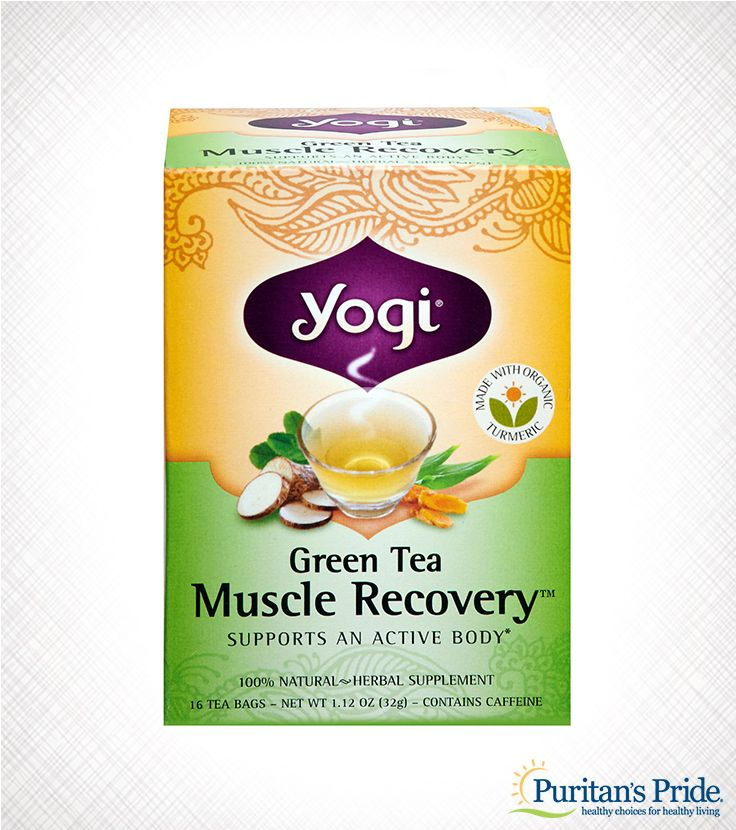 RUNNERS: Stay active with a cup of Green Tea Muscle Recovery Tea from Yogi Tea. This satisfying blend starts with gently stimulating Green Tea (a source of antioxidants) and combines it with traditional soothing herbs such as Organic Turmeric Root.